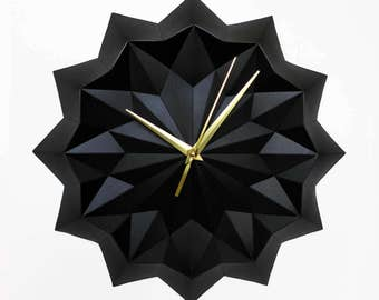 Black origami clock, wall clock without numbers, elegant modern home decor