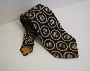 Vintage Wide Tie, Brown Tie With Circle Print, Wide Necktie, 1970s