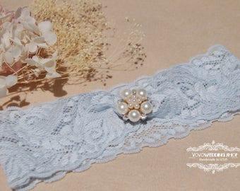 Cute lace Wedding Garter,Bridal Garter,blush and light blue lace Garter, light blue Wedding Garter, wedding Lace Garter