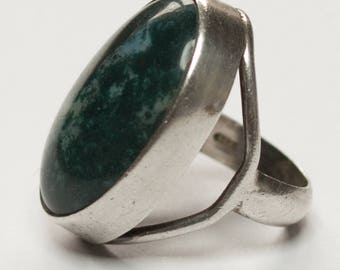vintage silver and moss agate Modernist ring