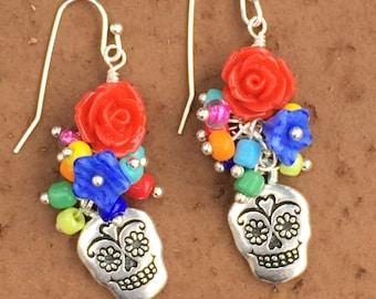 Sugar Skull Earrings, Flower Skull Earrings, Day Of The Dead Earrings, Cinco De Mayo Earrings, Skull Jewelry, Multi Colored Skull Earrings