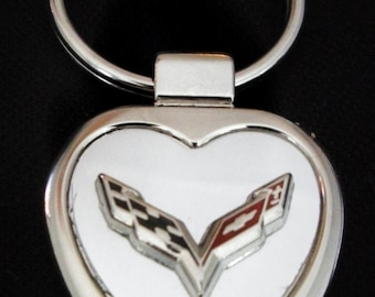 Corvette C7 Heart Shaped Brushed Silver with Silver Trim Keyring-Free Engraving