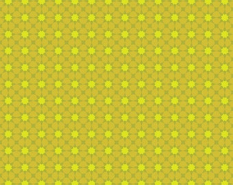 Seventy-Six by Alison Glass Sunshine in Lichen A-8448-V cotton fabric andover modern material quilting supplies green yellow stars sun