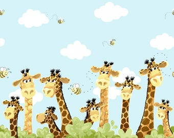 Zoe the Giraffe Border from Susybee SB20257-930 - juvenile susy bee cotton woven fabric character children kids cartoon safari