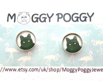 Sterling Silver 12 mm black cat ear studs, stud earrings
