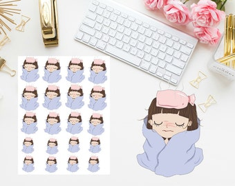 Sick day girl planner stickers