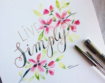 Live simply - watercolor cherry blossom art