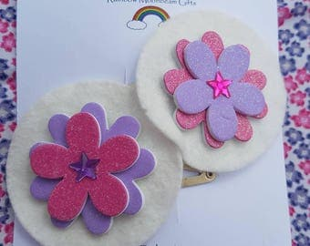 Pink and Purple glitter flower hair clasps