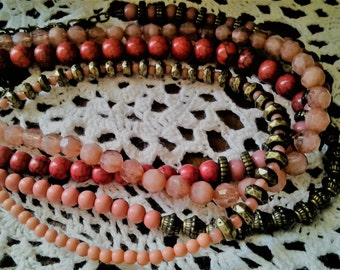50% off- Pink Coral, glass and Brass Beaded Necklace - HALF PRiCE