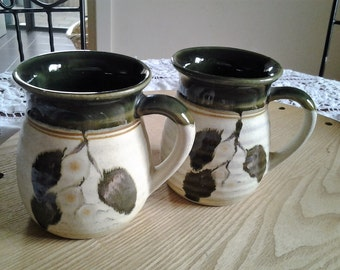 Pair Stoneware Brown Glazed Coffee Mugs with gumnut design - Vintage