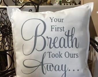 White Cotton Canvas Baby Pillow Baby Room Decor Kids Room Decor Baby Shower Gift Newborn