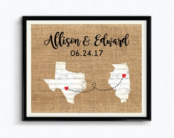Anniversary Date & Couples Names, Custom City/State, Special Date Keepsake, Personalized Wedding Gift, Gift For Couples, Burlap - (D175)