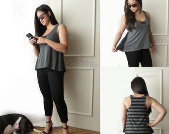 High low tank top, lace side insets, size Large, boho, gray and black stripe, OOAK racerback tank, tent top, summer top, athleisure wear