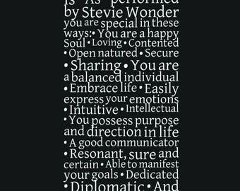 Stevie Wonder Song, Lyrics, As around the sun Lyrics, Birthday Gift, Music Poster, Music Lovers Gift, Astrology, Music Personality Report