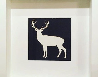 Silhouette Cut-out Black / White Stag / Deer / Reindeer in Large Black / White Frame
