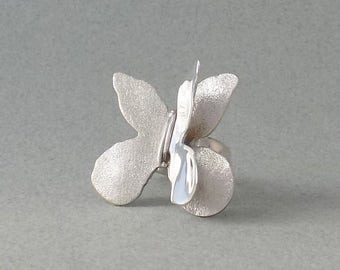 BUTTERFLY SILVER RING, sterling silver ring, butterfly ring, gift for her, art jewelry, handmade jewelry, birthday gift, jewelry for her
