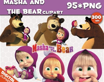 Masha and the Bear Clipart  95 PNG 300dpi Images Digital Clip Art Instant Download Graphics transparent background birthday