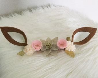 Deer Headband, Critter Headband, Woodland Animal, Deer Crown, Floral Headband, Felt Headband, Photo Prop, Newborn Prop,