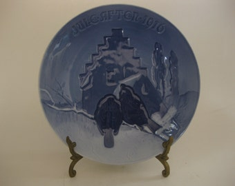 Antique 1916 B&G Bing and Grondahl Christmas Jule After Plate Denmark Excellent Condition