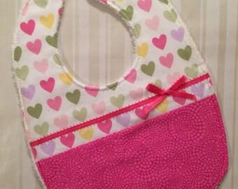 Valentine's Day Bib - Cute Heart Bib - Two Sided Bib - Handmade Baby Bib - Pink Hearts and Ribbon - Heart Baby Bib - Baby Girl Bib - Hearts