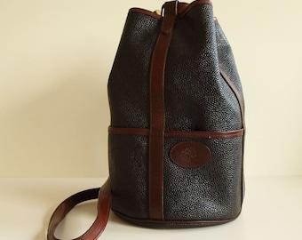Mulberry Bucket Bag in Black Scotchgrain with Dark Brown Trim