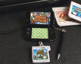 Nintendo 3ds charm, custom nintendo 3ds, nintendo jewelry, cute nintendo new 3ds charm, geeky christmas gift, nintendo, geeky gift, kawaii