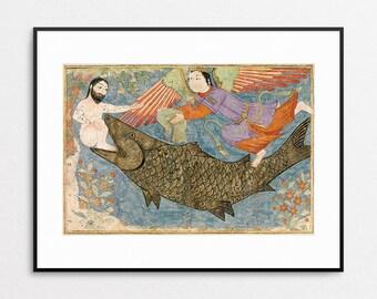 Jonah and the Whale Print - Islamic Art - Persian Art - Iran - Iranian - Gilcee Print - Whale Art - 15th Century - Wall Art - Home Decor