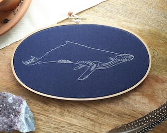 MADE TO ORDER - Humpback Whale, Whale Art, Whale Decor, Embroidery, Embroidery Hoop Art, Hoop Art, Whale Art, Nature Art, Whale Decor, Whale