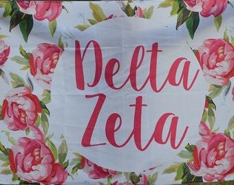 Delta Zeta Sorority Floral Flag