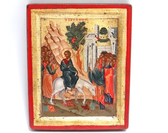 Handpainted Icon The Entry Into Jerusalem, Copy of Antique Byzantine 16th Century Icon from Greek Orthodox Monastery, Holy Icon, Palm Sunday