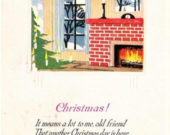 Vintage Christmas Holiday Friendship Postcard, Color Postcard, Christmas Postcard, Holiday Postcard, Posted, Vintage Stamp