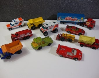 Collection of Matchbox Die Cast Vehicles Some Lesney Vintage Toy Cars and Trucks