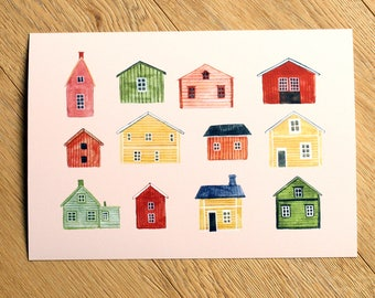 Houses Print - Art Prints - Scandinavian - Home Decor - Wall Art - House - Watercolour Illustration - Scandinavia - Swedish