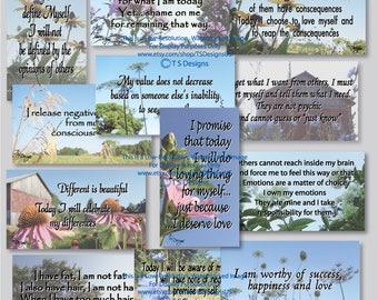 Affirmations- Self Image Affirmation Cards- Photo Design