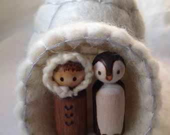 Felted igloo with Inuit/Eskimo Penguin