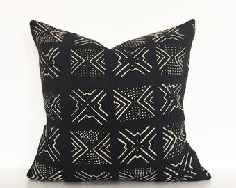 Mudcloth pillow | Mud Black mudcloth cushion cover | Decorative pillow | African mudcloth | Ethnic cushion cover | Authentic bogolan pillow