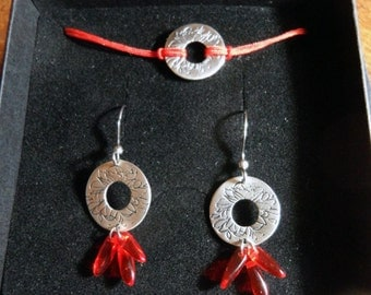 Hortense earrings and bracelet handmade in bronze and silvered