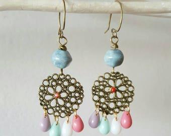 Earrings candlesticks marriage, creative jewelry ceremony, bronze, handmade in France, jewelry earrings