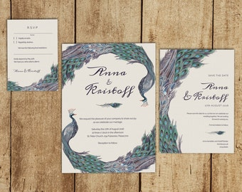 Printable Wedding Invitation Suit, Instant Download, RSVP Card, Save The  Date Card,