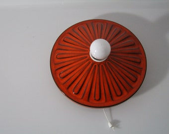 Funky  orange ceramic sconce, wall lamp,  West German Pottery, WGP. midcentury