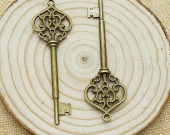 10 pcs Antique bronze precious key Charm Pendants for Necklace / accessory DIY 69 mm x 22 mm (507-40)