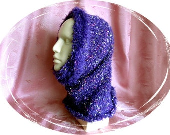 Scarf, knitted scarf, ladies scarves, loop, purple with colored dots, handmade, unique, handmade, scarf, OOAK