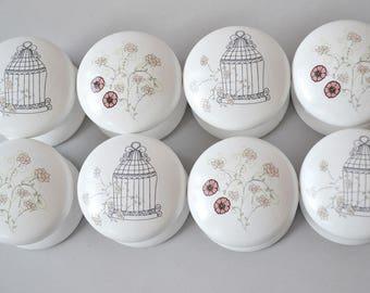 Birdcage Drawer Knob, Drawer Pull, Dresser Pull, Knob, Pretty Floral Pattern, Cabinet Knob.