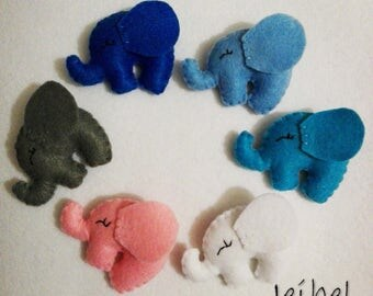 elephants, ornaments, white, blu, pink, magnet, keychain