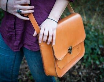 Hand made messenger bag, leather