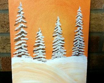 canvas panel painting, 8x10, winter, landscape, acrylic paint, original art, home decor
