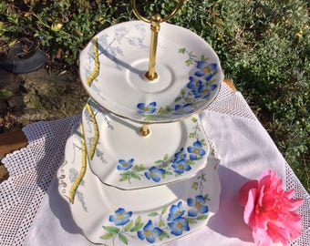 Art Deco bone china 3 tier Cake stand,  Bell China Rambler, A fine way to take afternoon tea