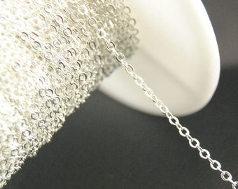 16Ft Silver Plated Chains, Cable Chains, 1.5mm x 2mm Chains, Brass Chains.