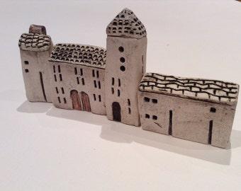 Set of 4 tiny ceramic buildings/town. Original and handmade pottery art.