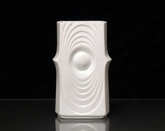 Royal KPM Vase Swing Op Art West German Kerafina Hand Made White Porcelain Modernist 796 / 30